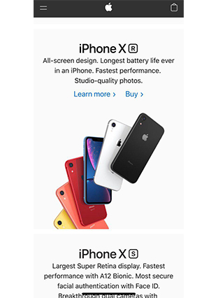 Apple mobile-first website