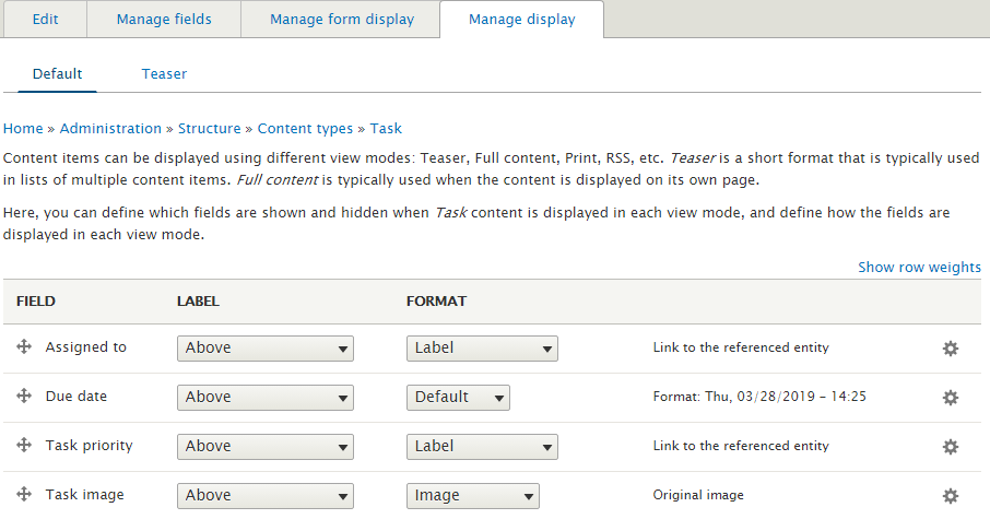 Fields for a content type in Drupal 8