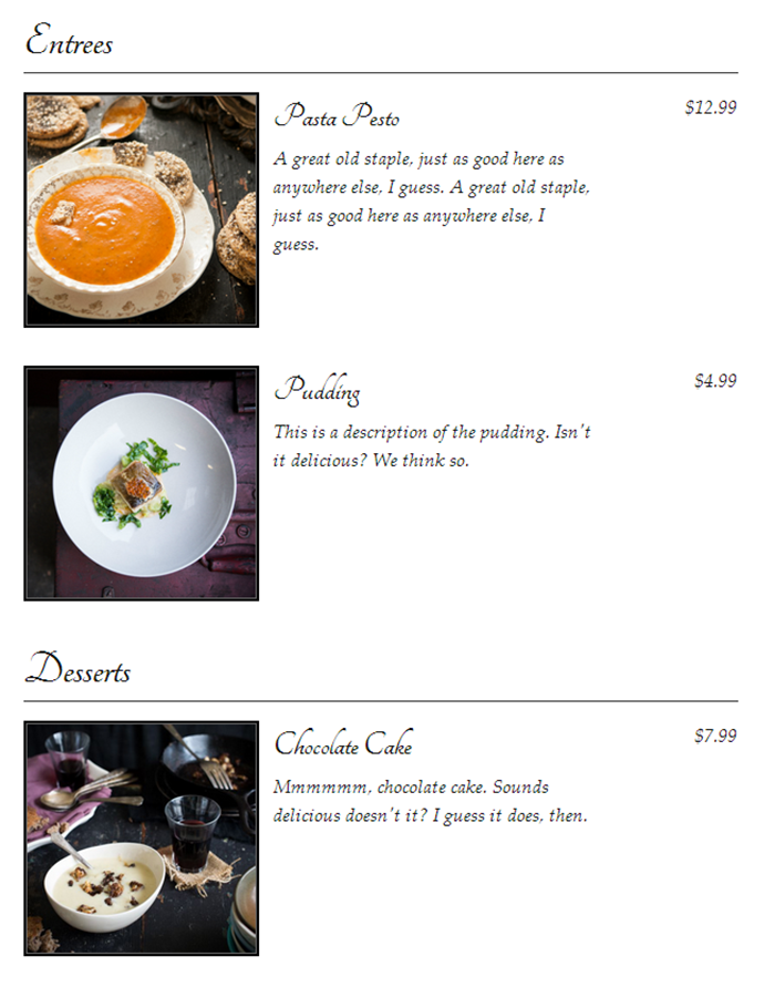 Food and Drink Menu Plugin for restaurant websites
