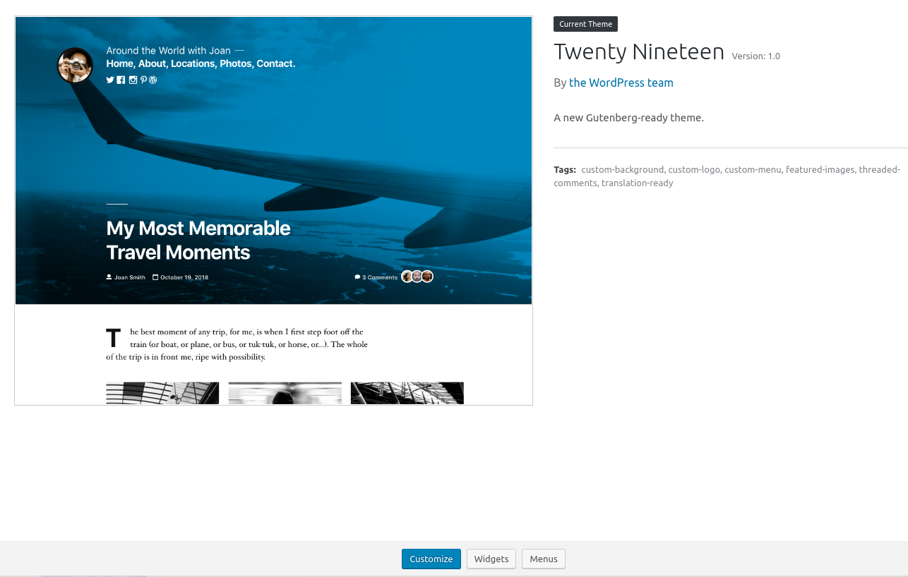 New Twenty Nineteen default theme in WordPress 5.0