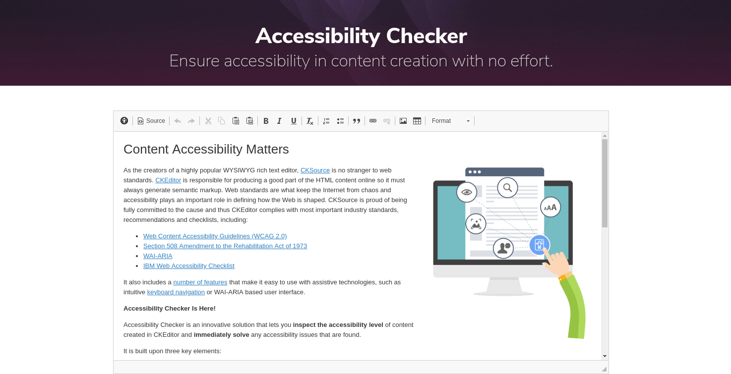 Accessibility Checker tool for CKEditor content