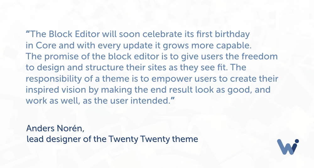 Anders Noren about the new default theme in WordPress 5.3