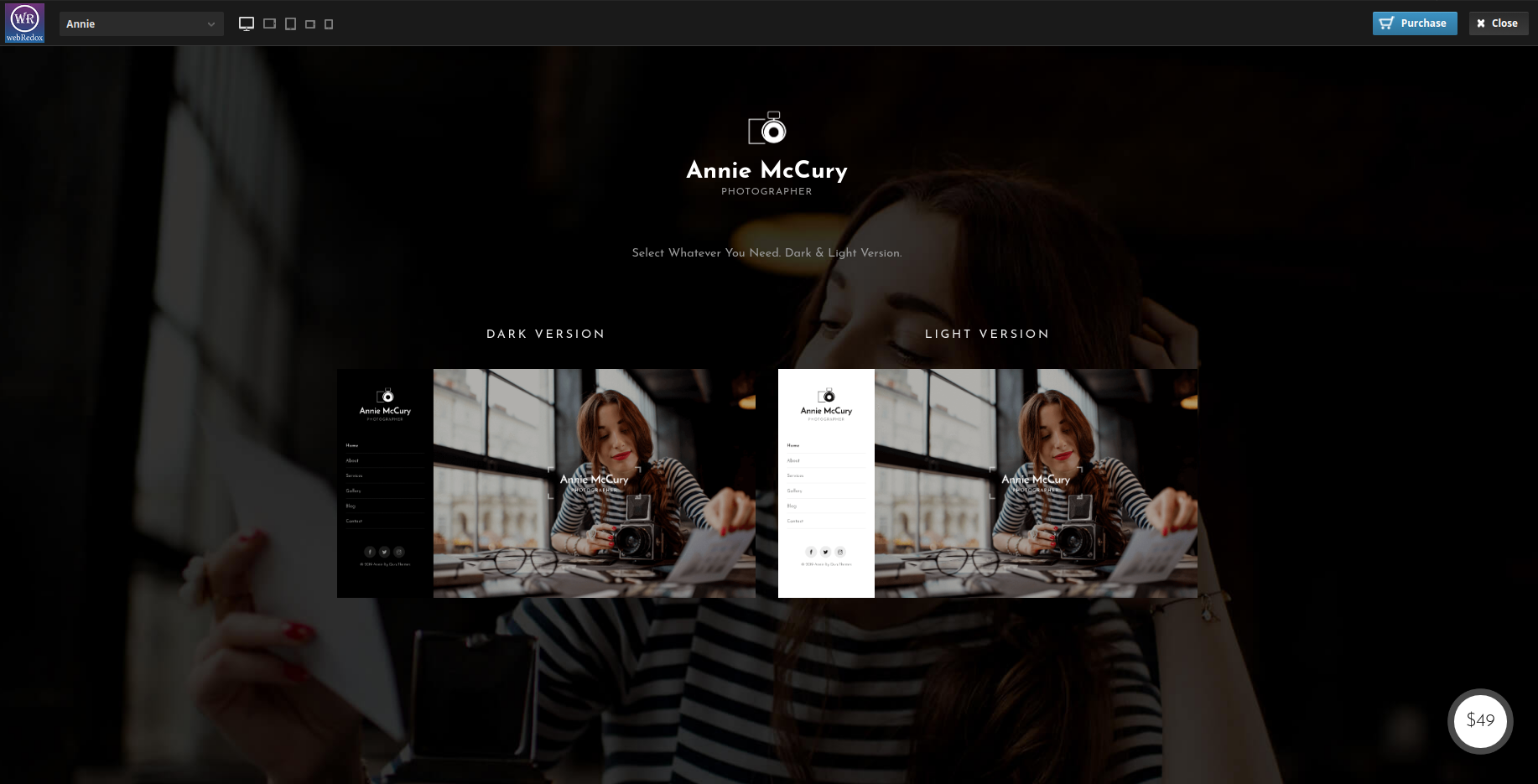 Annie dark WordPress theme