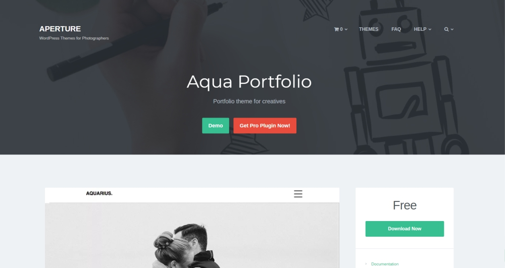 Aqua portfolio design and photography WordPress theme