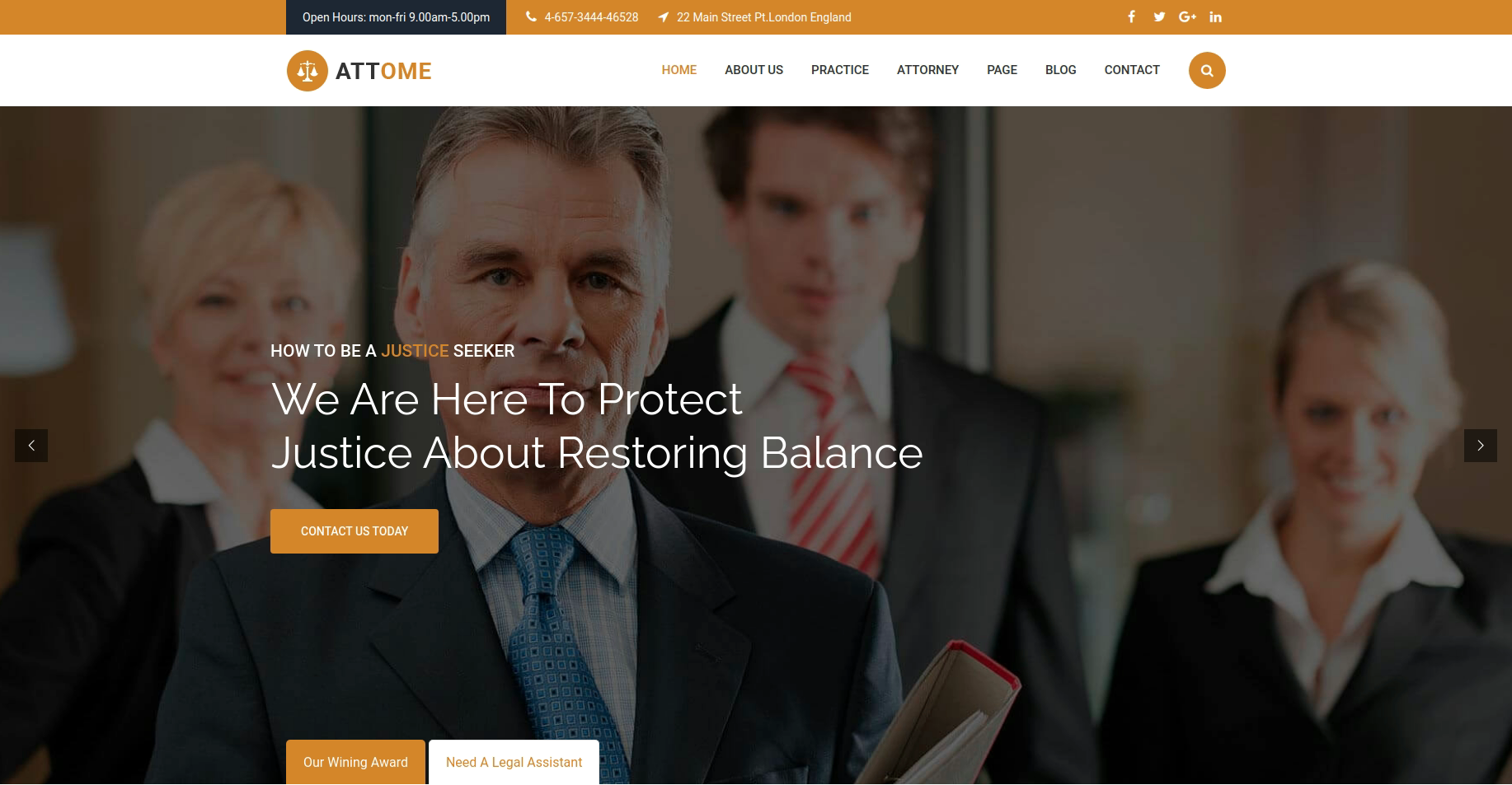 Attome law firm website layout