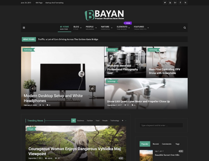 Bayan dark WordPress theme