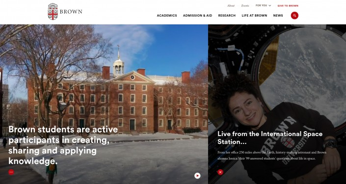 Brown University as an example of hi-ed homepage design trends