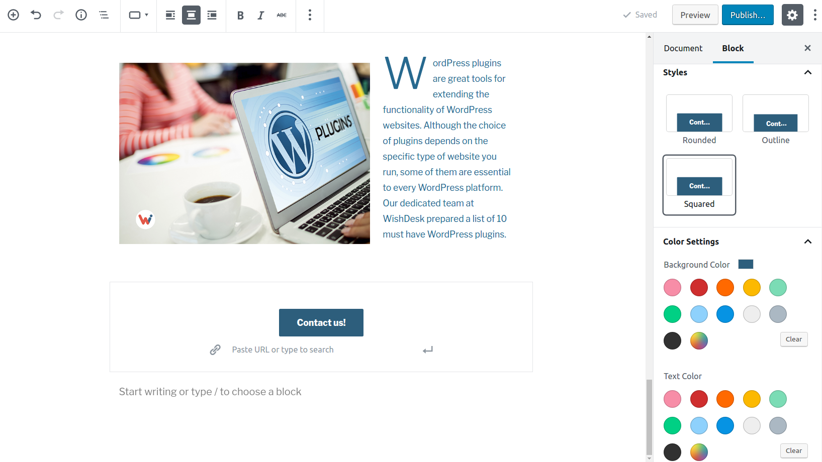 button settings in gutenberg editor wordpress 5