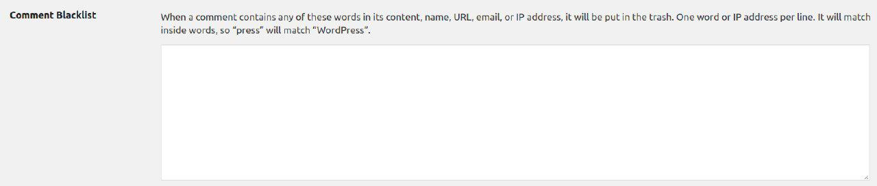 comment blacklist in WordPress
