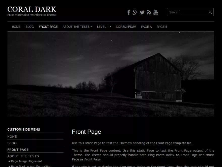 Coral Dark - dark website theme
