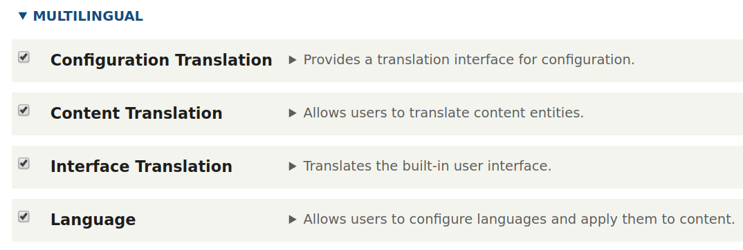 Enabling the multilingual modules in Drupal 8