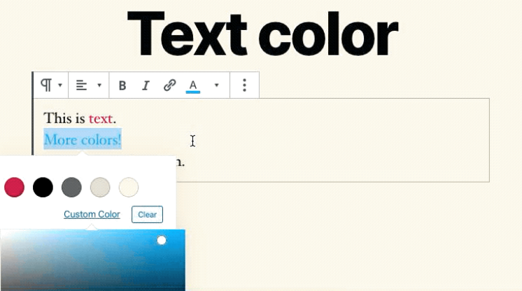 Enhanced color options for the Gutenberg editor in WordPress 5.4