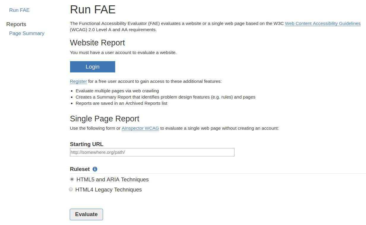 FAE website accessibility checking tool
