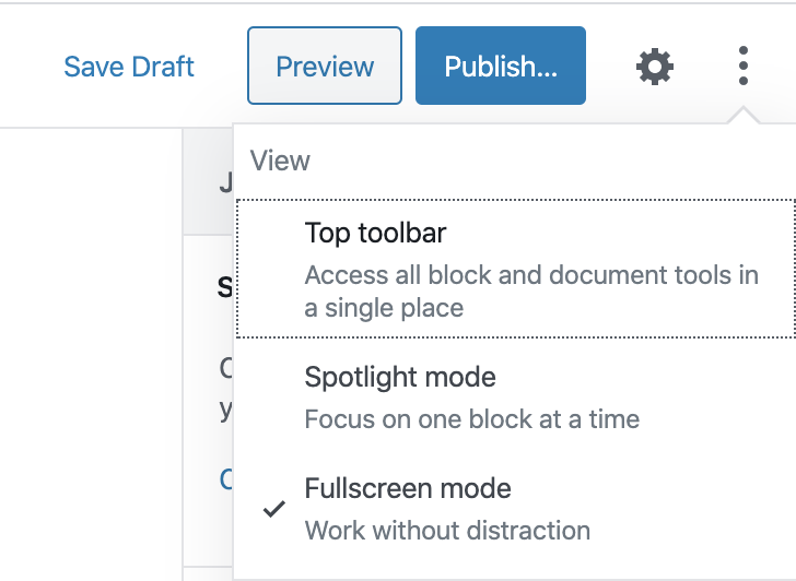 Fullscreen mode is the default for the Gutenberg editor in WordPress 5.4