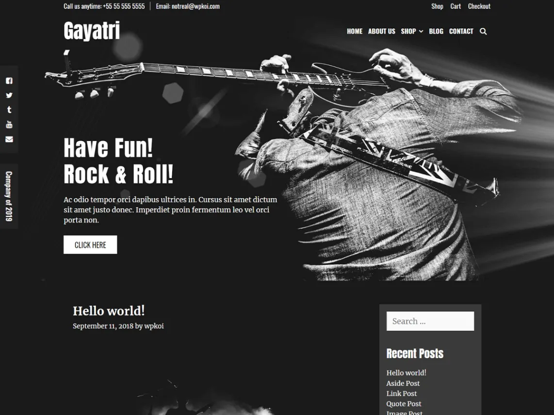 Gayatri dark WordPress theme