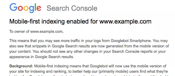 mobile-first indexing announced by Google