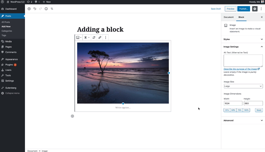 Gutenberg editor in WordPress 5