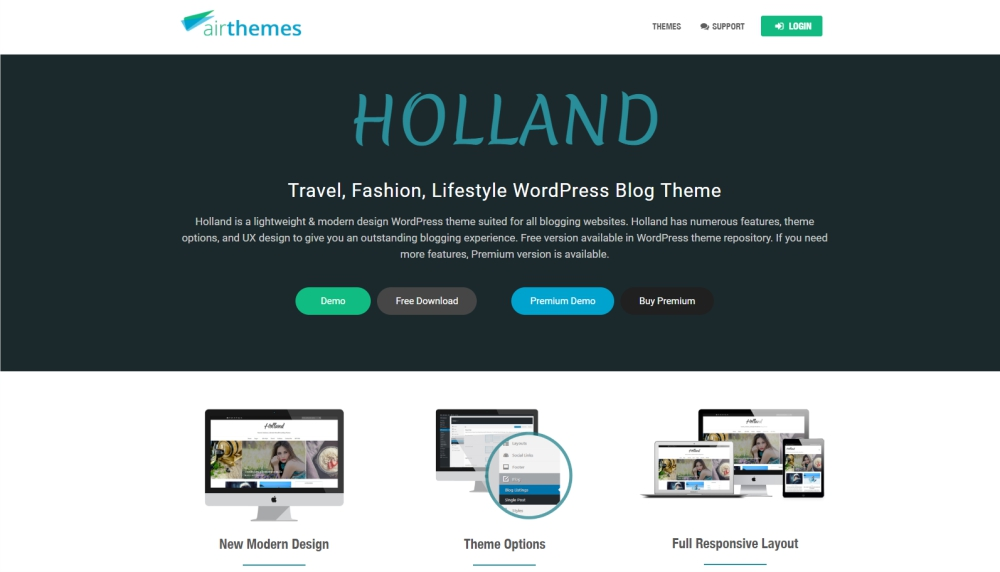 Holland design and photography WordPress theme