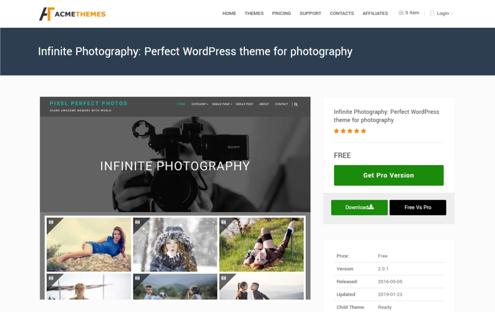 Infinite Photography design and photography WordPress theme