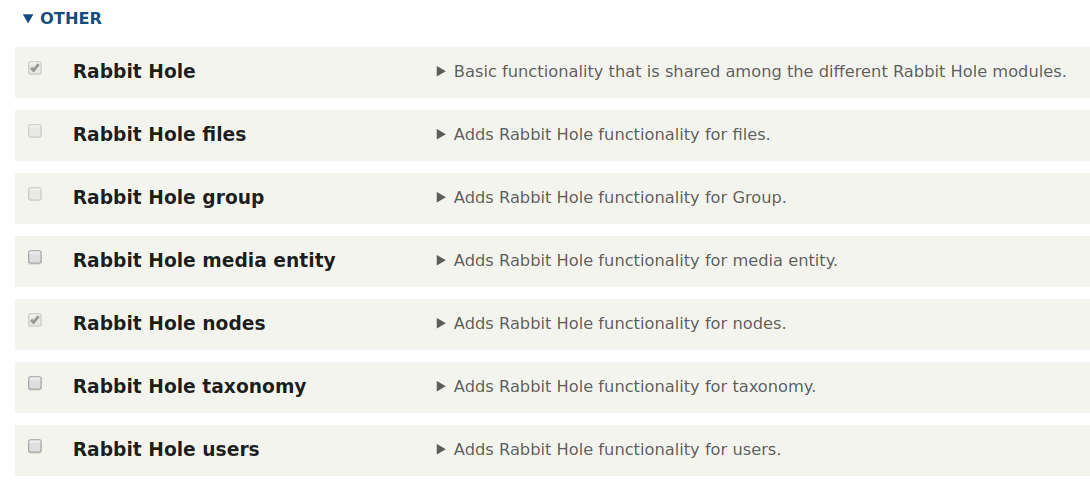Intalling the Rabbit Hole module in Drupal 8
