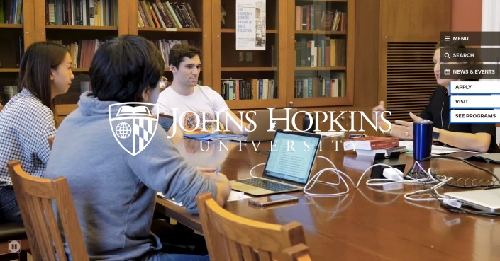 John Hopkins University as an example of hi-ed homepage design trends
