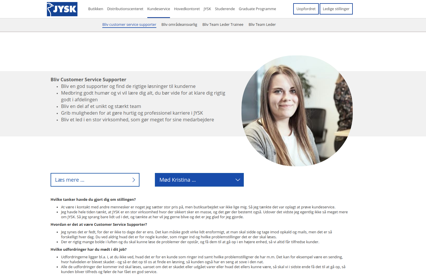 JYSK career website job description
