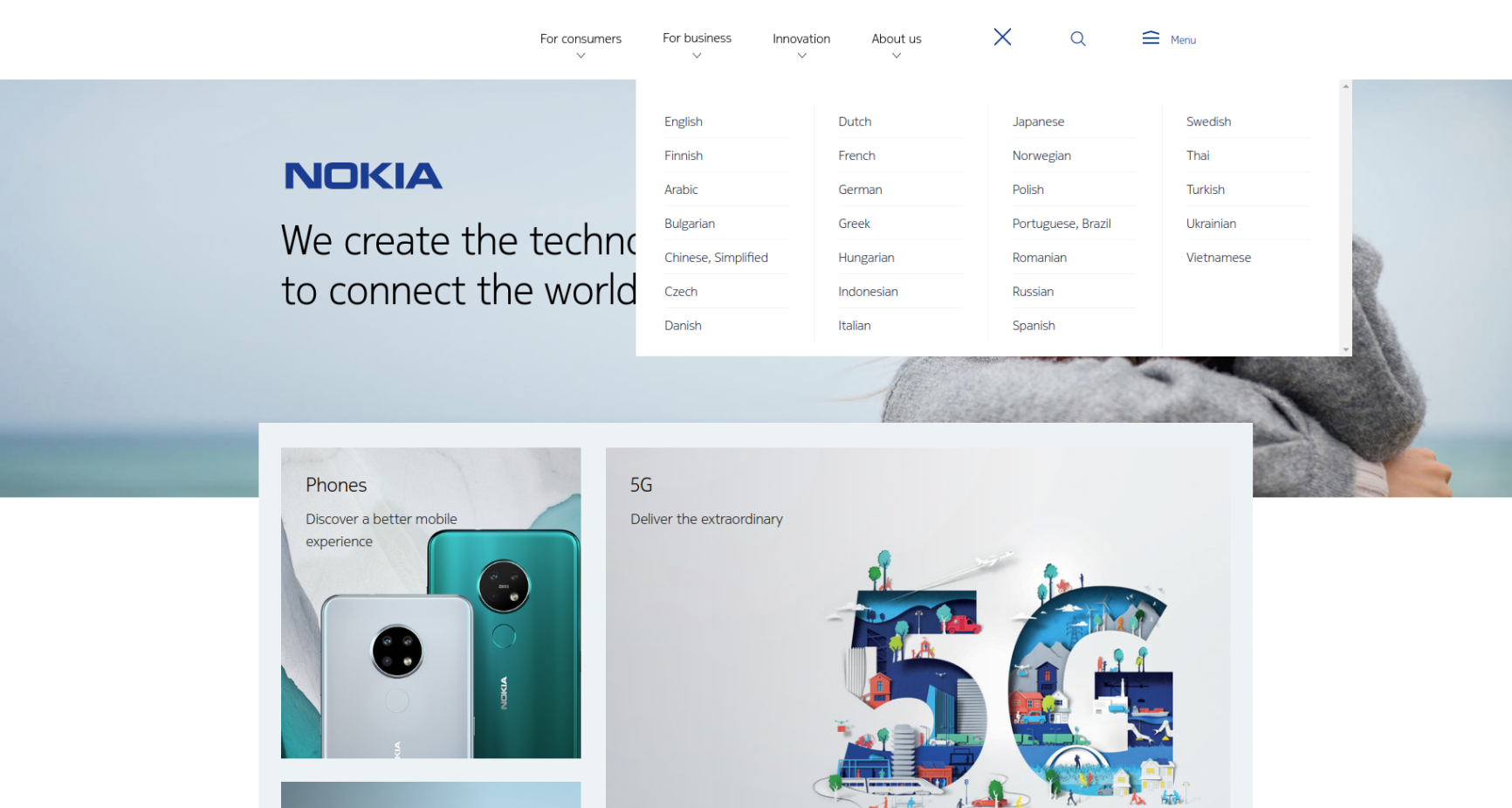 Language switcher on the Nokia website
