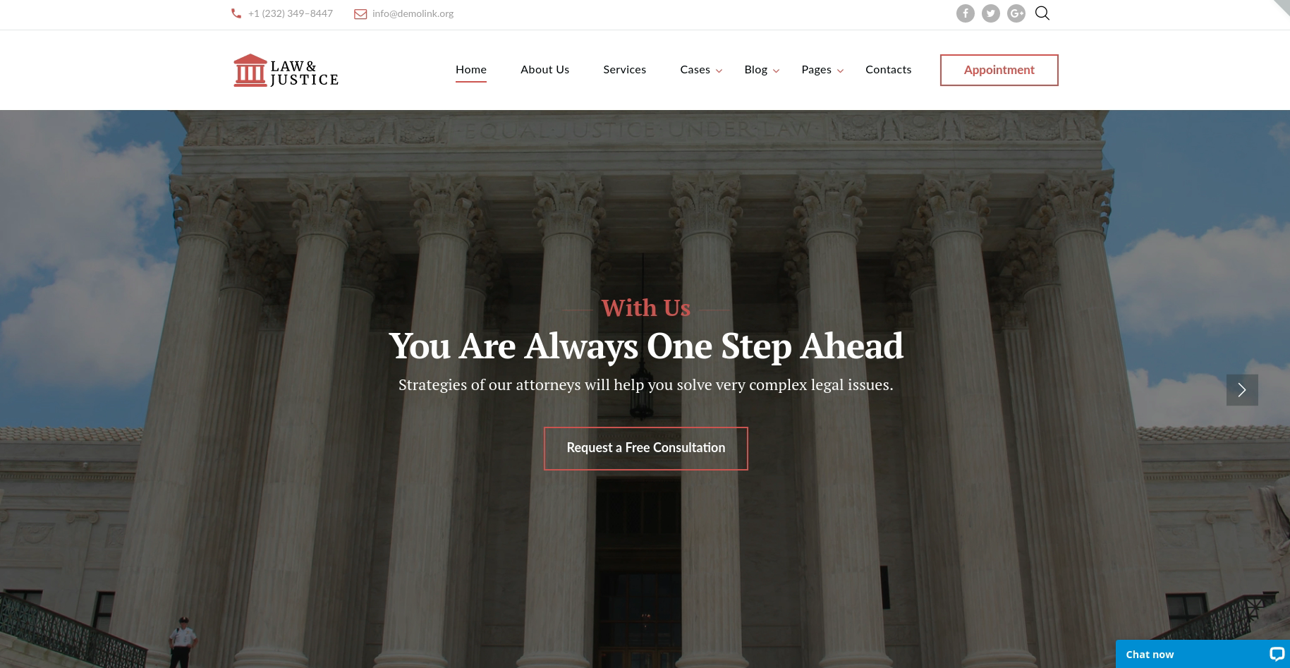 Law and Justice law firm website template theme