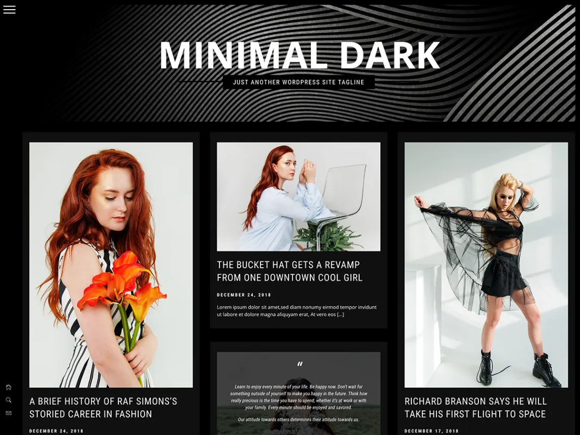 Minimal dark - dark WordPress theme