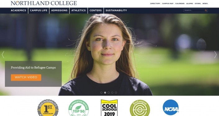 Northland College as an example of hi-ed homepage design trends