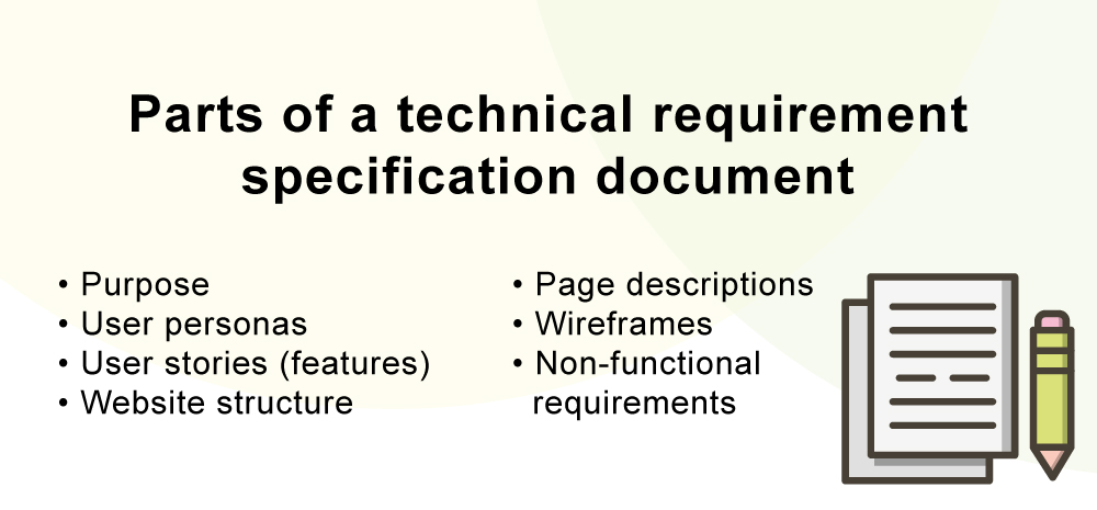 Parts of a technical requirements specification document