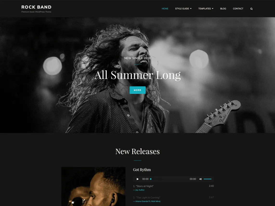 Rock Band dark WordPress theme