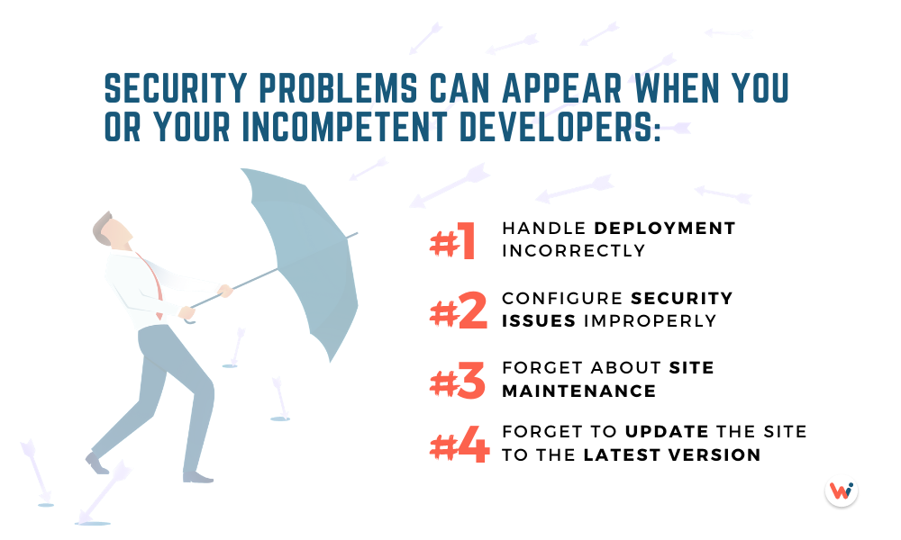 Security problems can appear when you or your incompetent developers: