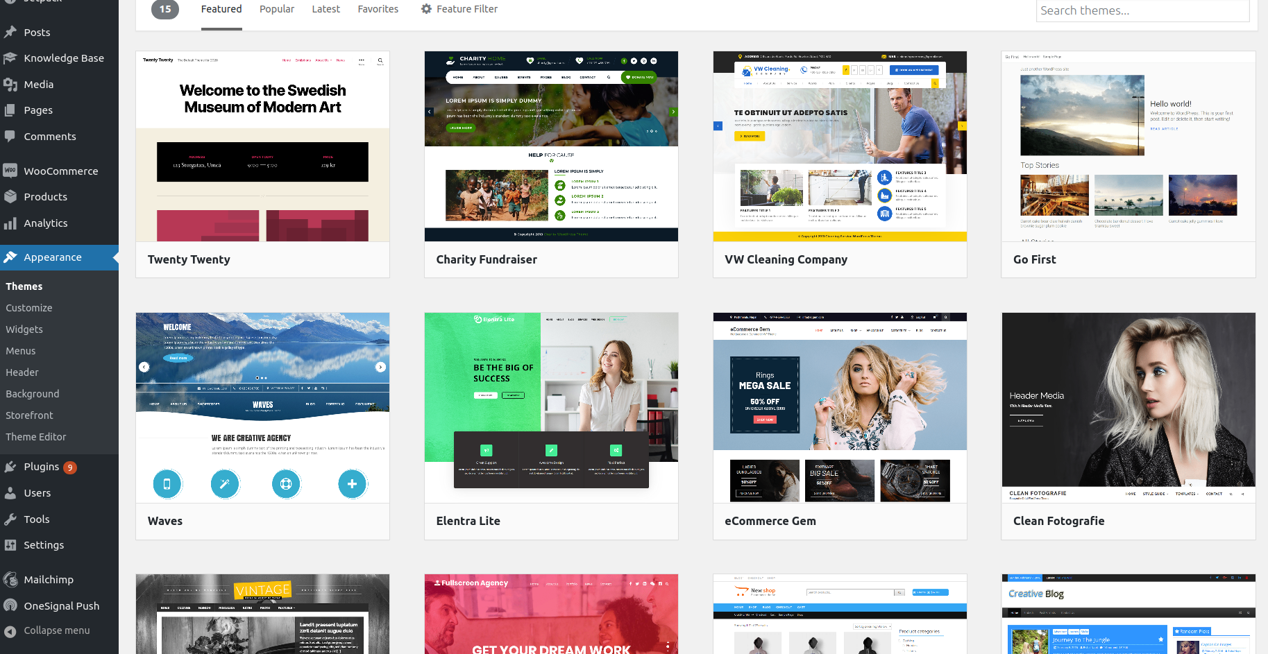 Select and install a new WordPress theme