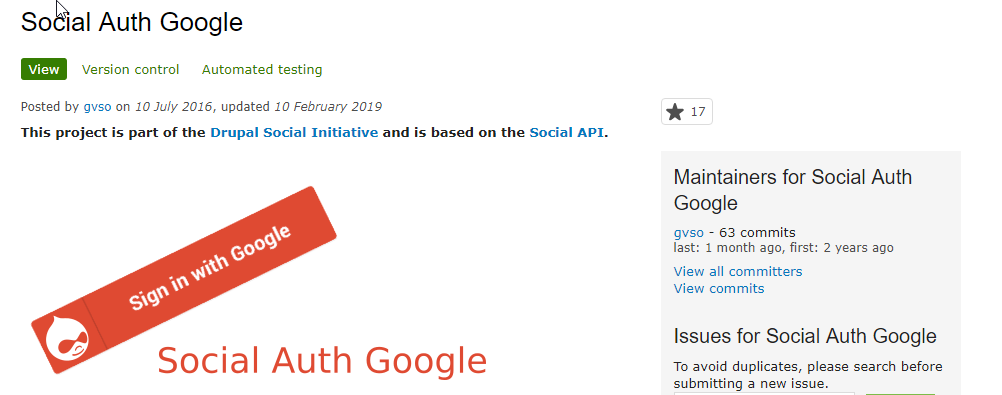 social auth google integrated with drupal8