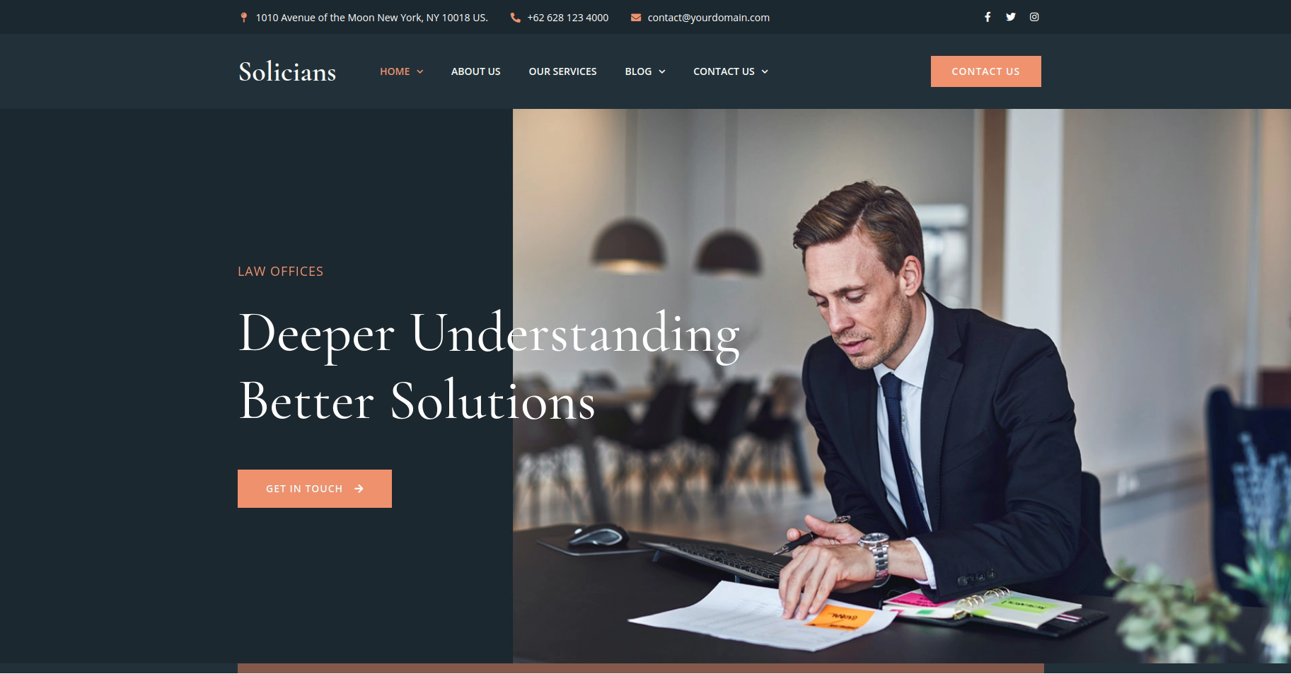 Solicians web template lawyer