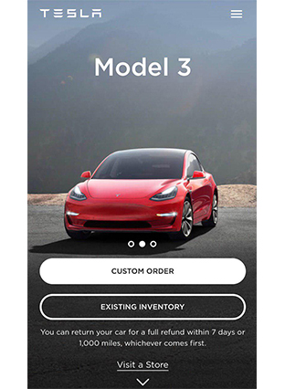 Tesla mobile-first website
