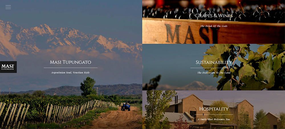 the Masi Tupungato website with hidden navigation