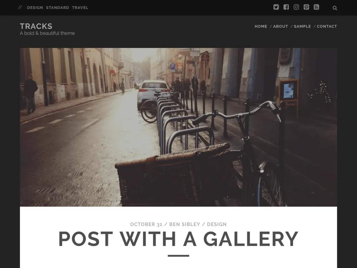 Tracks dark WordPress theme