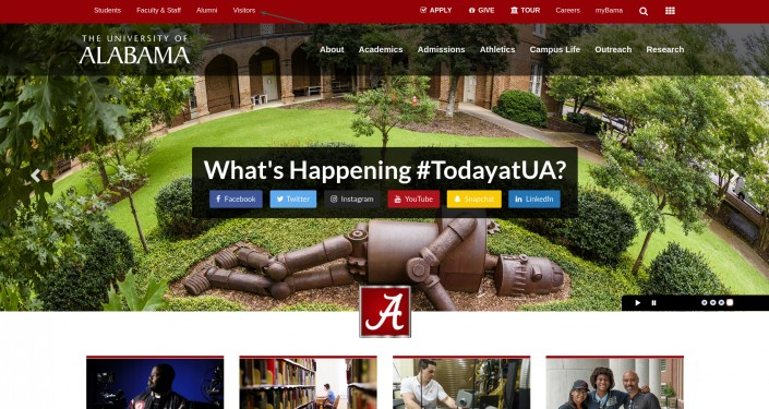 University of Alabama as an example of hi-ed homepage design trends