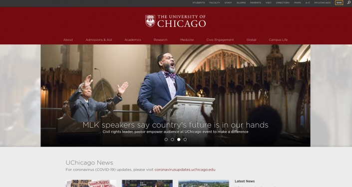 University of Chicago as an example of hi-ed homepage design trends