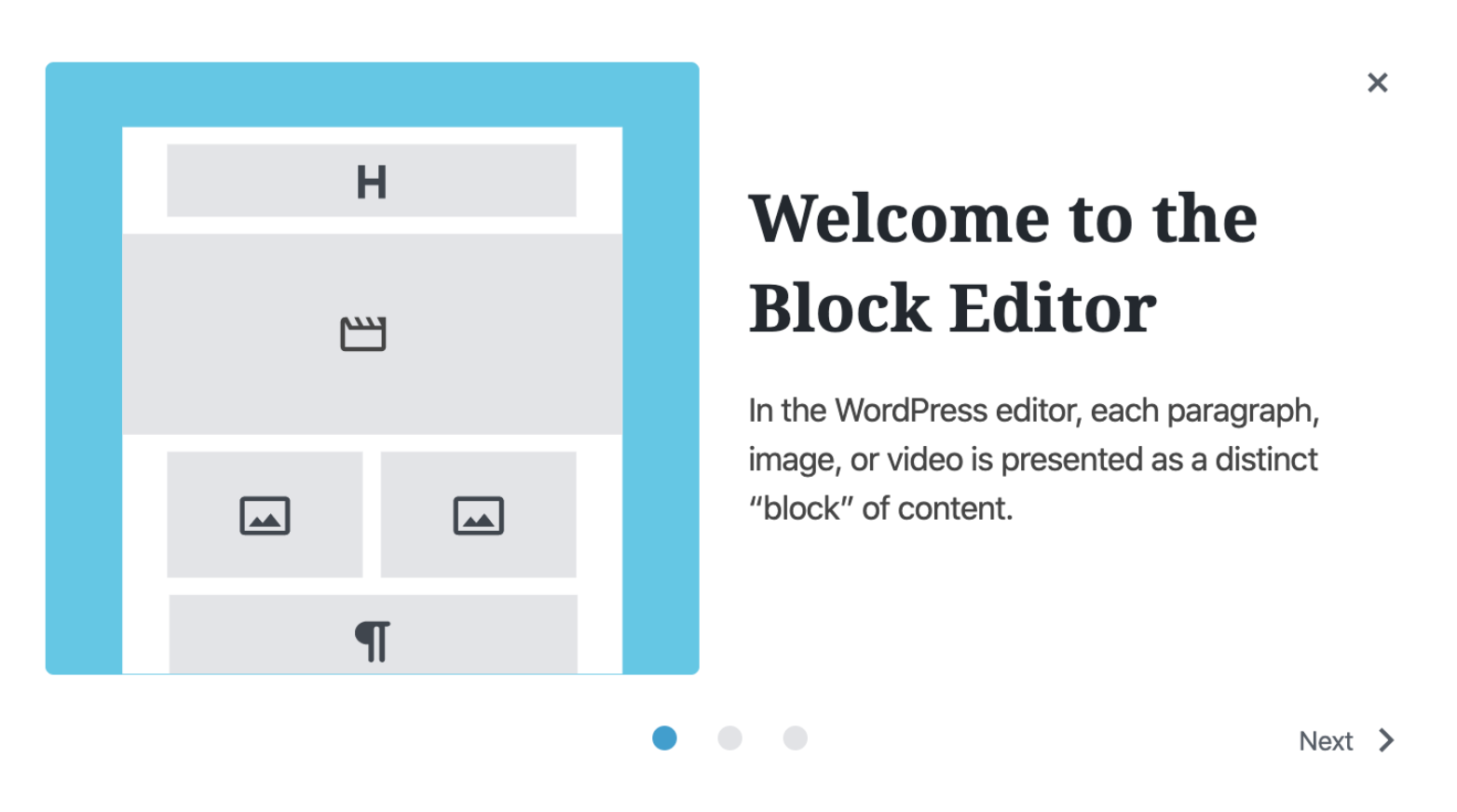 A welcome guide popup for the Gutenberg editor in WordPress 5.4