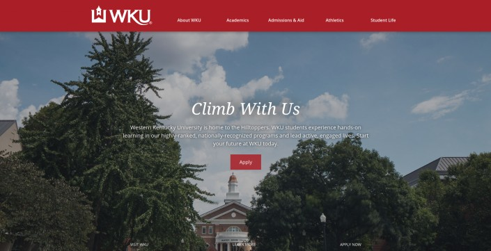 Western Kentucky University as an example of hi-ed homepage design trends