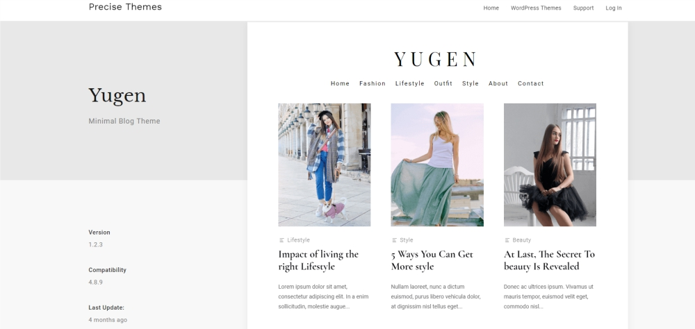Yugen design and photography WordPress theme